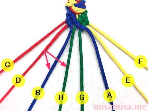 4色8本のモザイク模様ミサンガの作り方手順87