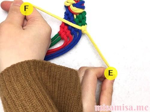 4色8本のモザイク模様ミサンガの作り方手順141