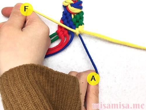 4色8本のモザイク模様ミサンガの作り方手順148