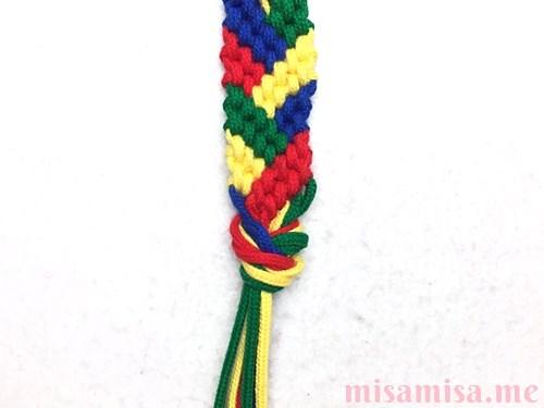 4色8本のモザイク模様ミサンガの作り方手順200