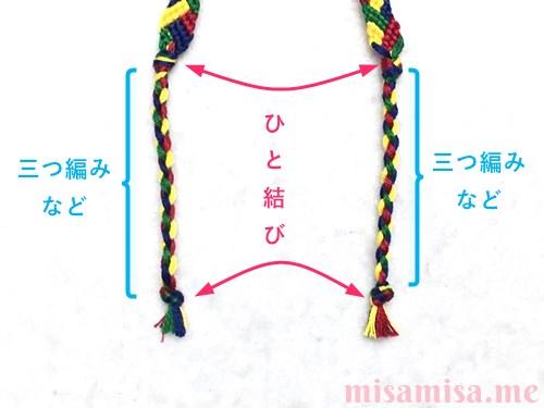 4色8本のモザイク模様ミサンガの作り方手順201
