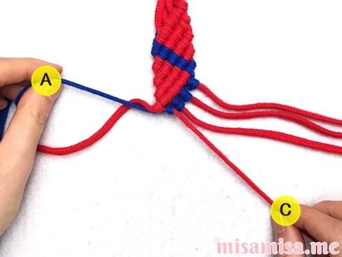 2色6本のジグザグ模様ミサンガの作り方手順67