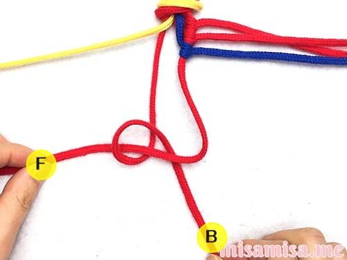 3色6本のジグザグ模様ミサンガの作り方手順26