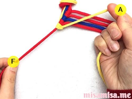 3色6本のジグザグ模様ミサンガの作り方手順36