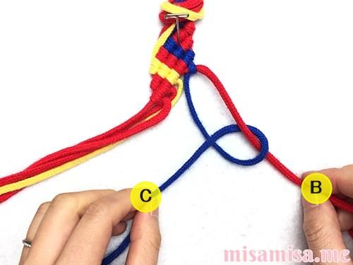 3色6本のジグザグ模様ミサンガの作り方手順44
