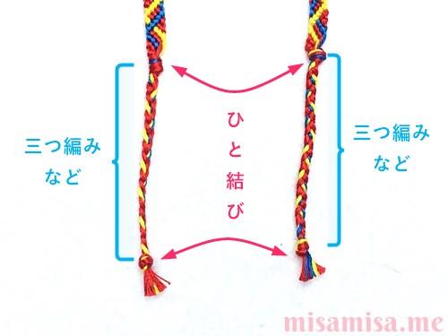 3色6本のジグザグ模様ミサンガの作り方手順79
