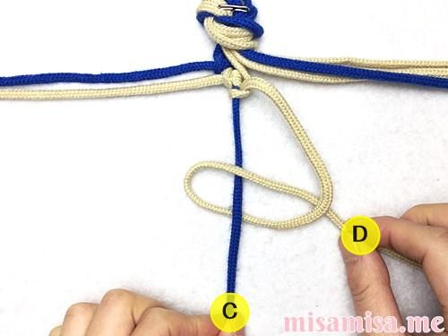 細い波(ウェーブ)模様ミサンガの作り方手順24