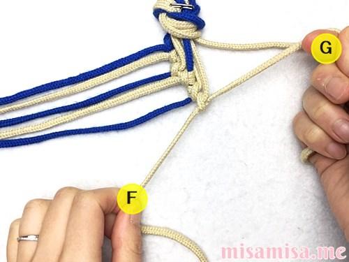 細い波(ウェーブ)模様ミサンガの作り方手順49