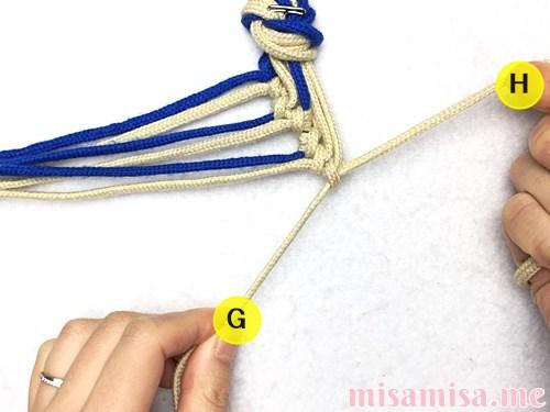 細い波(ウェーブ)模様ミサンガの作り方手順57