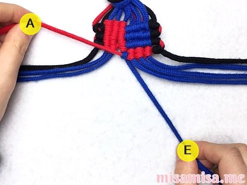 格子(フチあり)ミサンガの作り方手順147