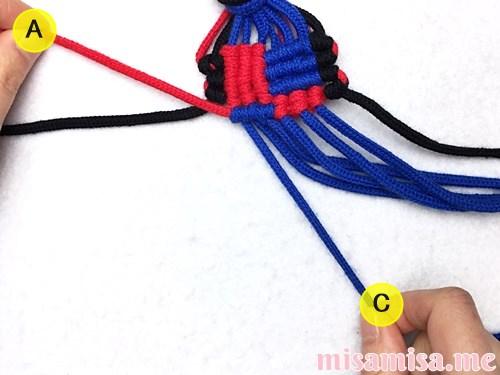 格子(フチあり)ミサンガの作り方手順161