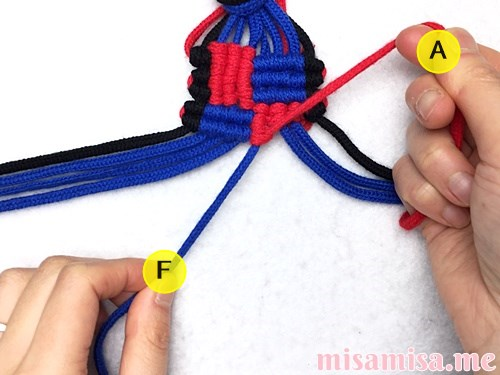 格子(フチあり)ミサンガの作り方手順205