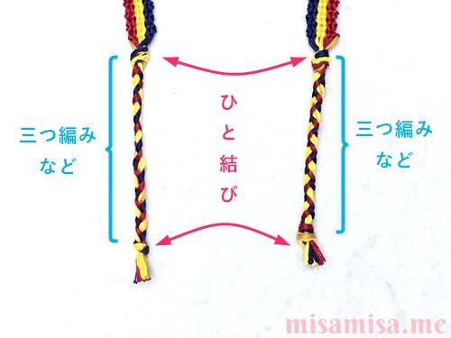 3色7本の縦ストライプ模様ミサンガの作り方手順89