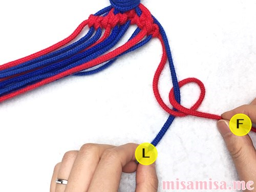 小さなひし形(ダイヤ)模様ミサンガの作り方手順75