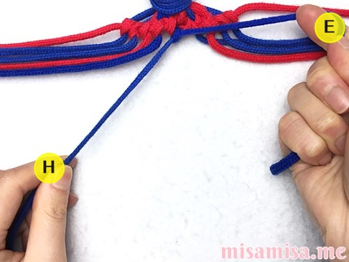 小さなひし形(ダイヤ)模様ミサンガの作り方手順85