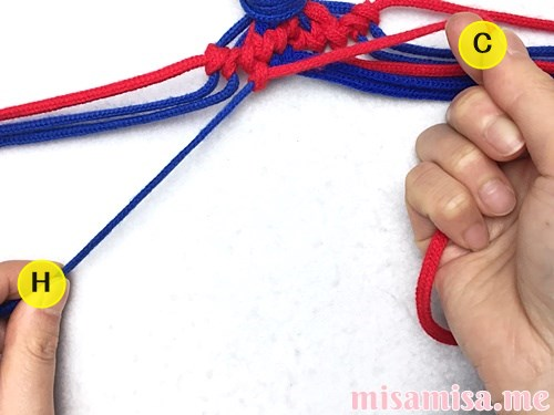 小さなひし形(ダイヤ)模様ミサンガの作り方手順99