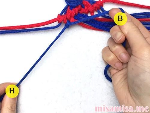 小さなひし形(ダイヤ)模様ミサンガの作り方手順106