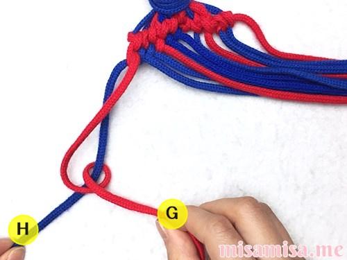 小さなひし形(ダイヤ)模様ミサンガの作り方手順119
