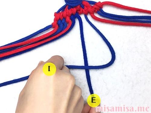 小さなひし形(ダイヤ)模様ミサンガの作り方手順123