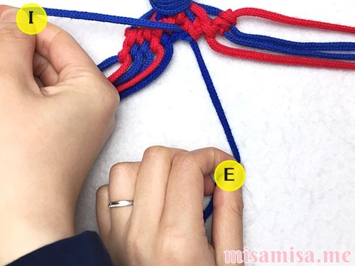 小さなひし形(ダイヤ)模様ミサンガの作り方手順125