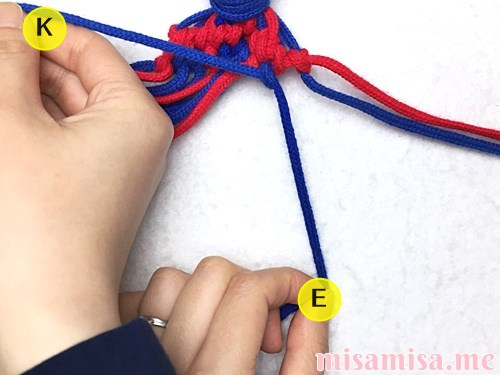 小さなひし形(ダイヤ)模様ミサンガの作り方手順141