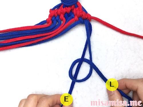 小さなひし形(ダイヤ)模様ミサンガの作り方手順147