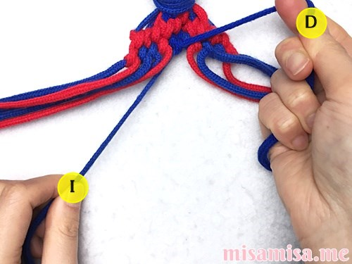 小さなひし形(ダイヤ)模様ミサンガの作り方手順162