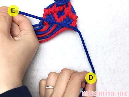 小さなひし形(ダイヤ)模様ミサンガの作り方手順230