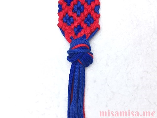 小さなひし形(ダイヤ)模様ミサンガの作り方手順235