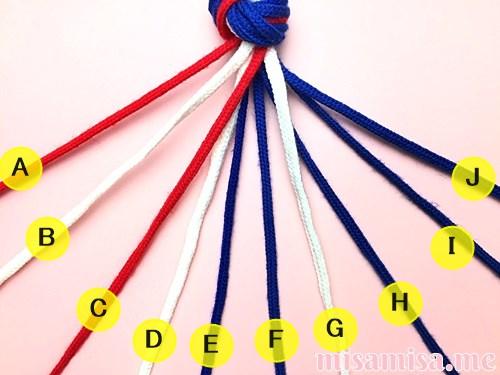 星条旗(アメリカ国旗)柄ミサンガの作り方手順2