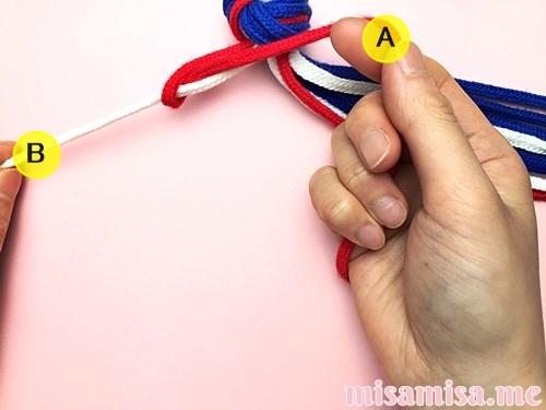 星条旗(アメリカ国旗)柄ミサンガの作り方手順6
