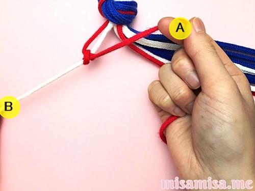 星条旗(アメリカ国旗)柄ミサンガの作り方手順8