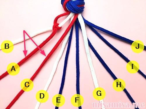 星条旗(アメリカ国旗)柄ミサンガの作り方手順10