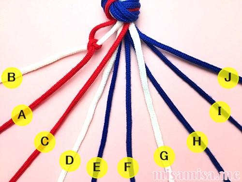 星条旗(アメリカ国旗)柄ミサンガの作り方手順9