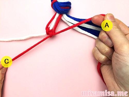 星条旗(アメリカ国旗)柄ミサンガの作り方手順15