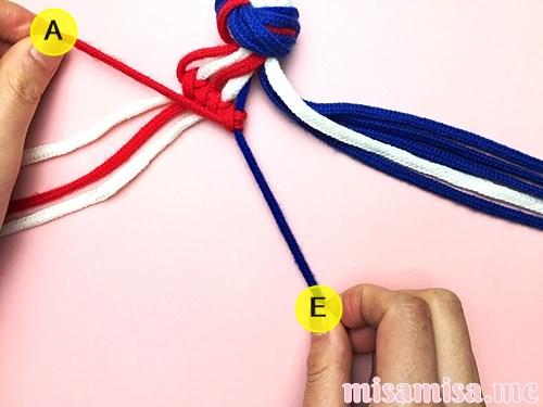 星条旗(アメリカ国旗)柄ミサンガの作り方手順30