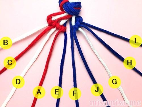 星条旗(アメリカ国旗)柄ミサンガの作り方手順52