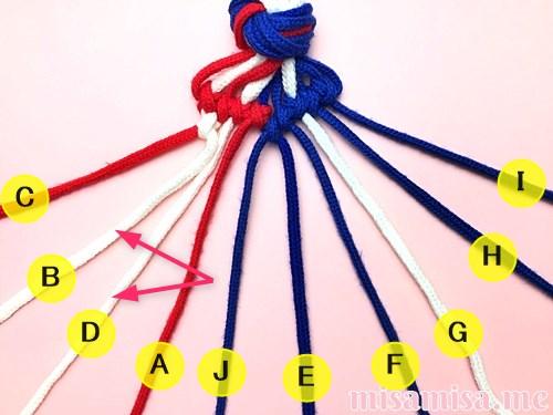 星条旗(アメリカ国旗)柄ミサンガの作り方手順74