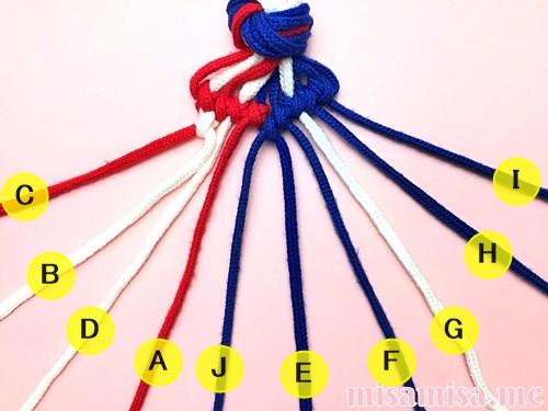 星条旗(アメリカ国旗)柄ミサンガの作り方手順73