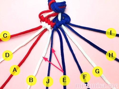 星条旗(アメリカ国旗)柄ミサンガの作り方手順88