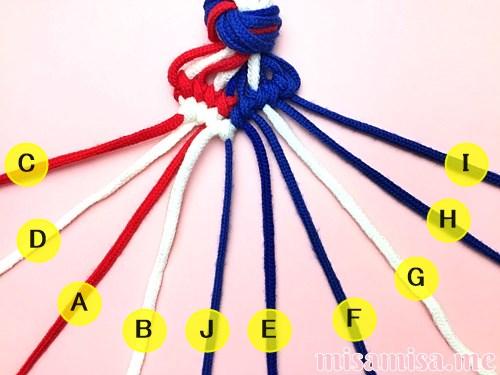 星条旗(アメリカ国旗)柄ミサンガの作り方手順95