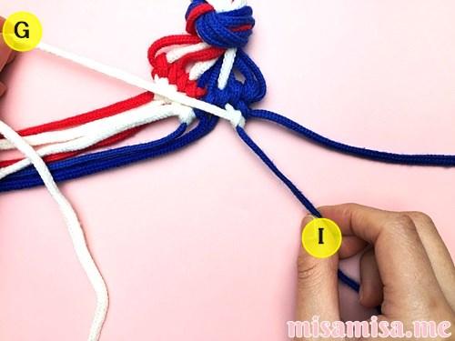 星条旗(アメリカ国旗)柄ミサンガの作り方手順109
