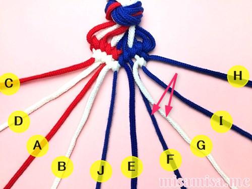 星条旗(アメリカ国旗)柄ミサンガの作り方手順111