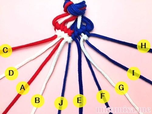 星条旗(アメリカ国旗)柄ミサンガの作り方手順110
