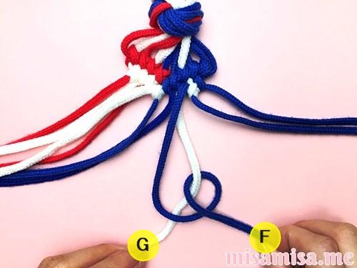 星条旗(アメリカ国旗)柄ミサンガの作り方手順115