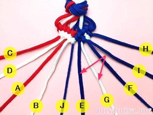 星条旗(アメリカ国旗)柄ミサンガの作り方手順118
