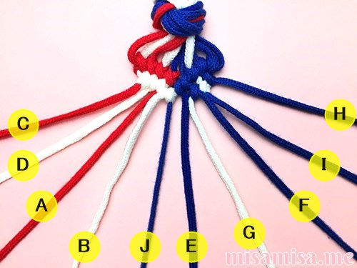 星条旗(アメリカ国旗)柄ミサンガの作り方手順117