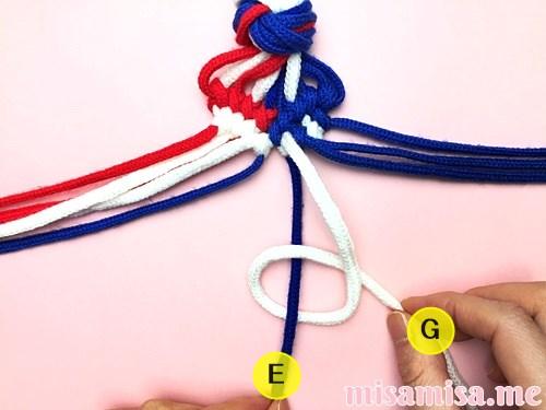 星条旗(アメリカ国旗)柄ミサンガの作り方手順123