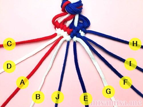 星条旗(アメリカ国旗)柄ミサンガの作り方手順125