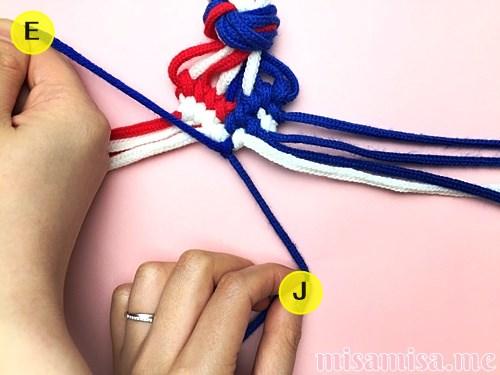 星条旗(アメリカ国旗)柄ミサンガの作り方手順131